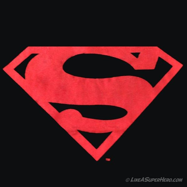 t shirt superman noir logo rouge scintillant like a super hero. Black Bedroom Furniture Sets. Home Design Ideas
