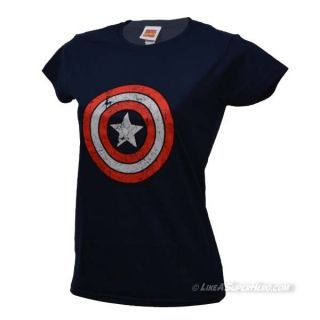 T-shirt Femme Captain America Distressed Logo