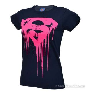 T-Shirt Femme Superman Dripping Logo Pink Fluo & Navy